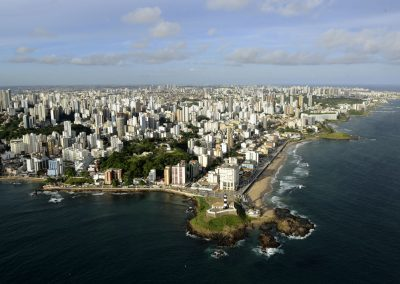 An aerial shot shows the city of Salvador in the northern state of Bahia